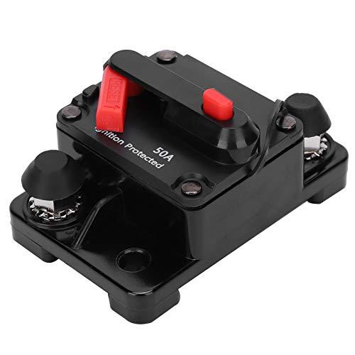 Socobeta Interruptor automático del sostenedor del fusible del interruptor de circuito DC12‑42V Material de cobre práctico, para exteriores, para el vehículo, para la protección del circuito (80A)