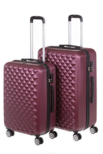 Hartschale Kofferset MONACO 2-teilig Gr. L+XL, 65+75cm, 68+110 Liter mit 360° Rollen und Zahlenschloss verschiedene Farben (iced bordeaux)