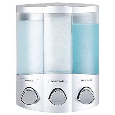 Better Living Products 76334 Euro Series TRIO 3-Chamber Soap and Shower Dispenser, Satin Silver