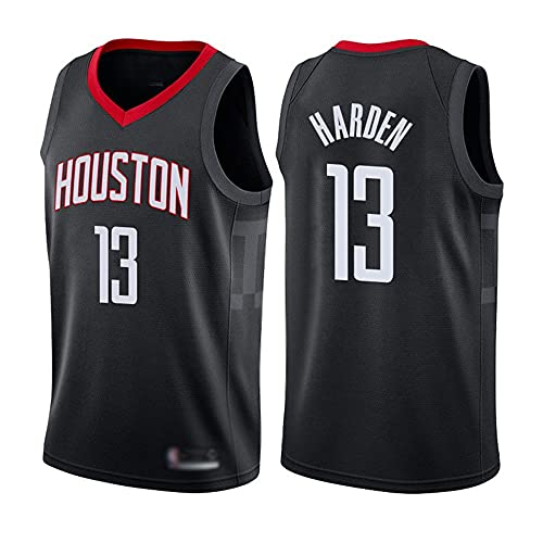Wo nice Uniformes De Baloncesto para Hombres, Houston Rockets # 13 James Harden NBA Verano Jerseys De Baloncesto Casual Chalecos Deportivos Camisetas Tops Sueltos,Negro,S(165~170CM)