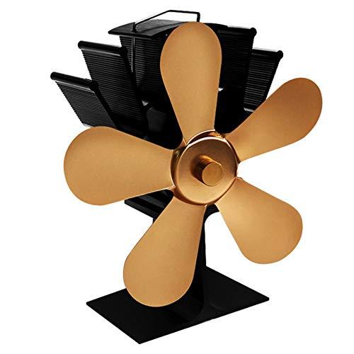 wuxafe Ventilador Estufa 5 Aspas Funcionamiento Silencioso Ventilador Estufa De Energía Térmica Ecofan, para Estufa De Leña O Chimenea