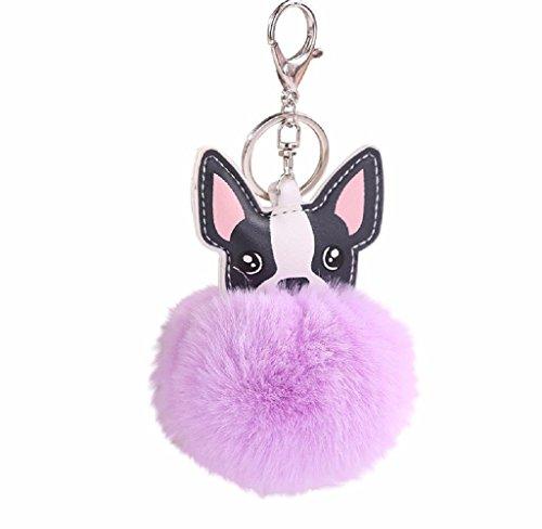 Holacha Llaveros de Perro Animal Lindos, Anillo de Llave de Piel de Conejo Colgante para Mujer Chica Accesorios de Teléfono Coche Bolsos (purpura)