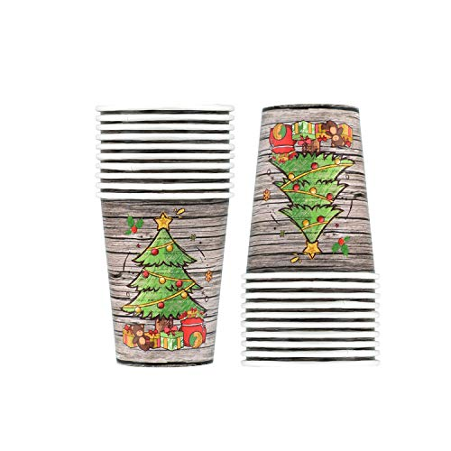 Christmas Wooden Design Cups 20 PCS with Christmas Tree and Merry Christmas Decorations for Christmas Party
