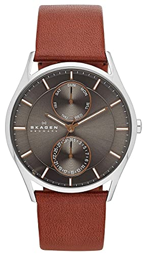 Skagen Men's Holst Quartz Analog Stainless Steel and Leather Watch, Color: Brown Leather (Model:...