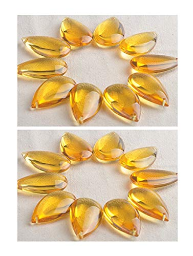 H&D 20pcs Glass Crystal Chandelier Prisms Ceiling Lamp Teardrop Pendants Yellow Beads 50mm