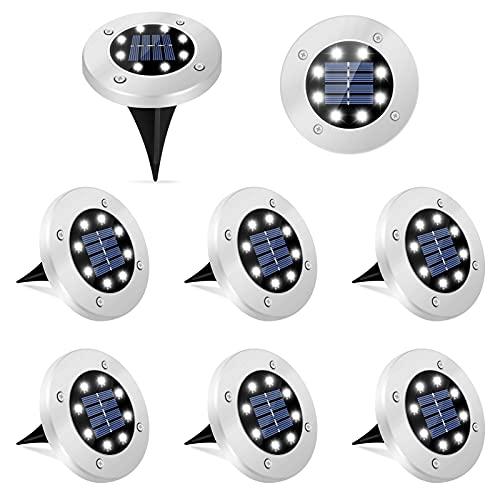 Luci Solari Giardino Esterno 8 Pezzi Lampade Solari da Giardino 8 LEDs Luci Giardino Energia Solare Luminose IP65 Impermeabile per Prato, Vialetto, Marciapiede, Patio, Campeggio, Piscina