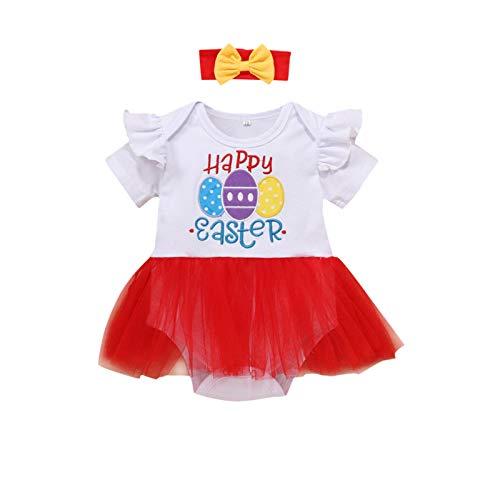 Set di tutù e tutù per bambine, per bambini, con uova di Pasqua, per bambini, regali Rosso 2 mesi