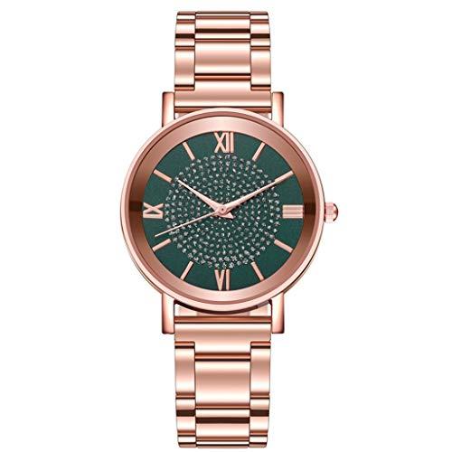 Relojes Para Mujer Relojes de moda reloj de cuarzo acero inoxidable dial casual bracele reloj reloj reloj de pulsera regalo de valentín Relojes Decorativos Casuales Para Niñas Damas ( Color : Green )