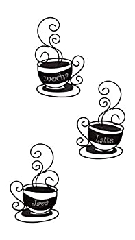 Collections-Etc Metal Coffee Cup Wall Art - Set of 3  9  x 6  Black.