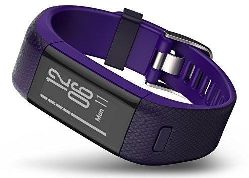 Garmin Vívosmart HR+ - Pulsera de actividad con GPS, color Morado, Regular
