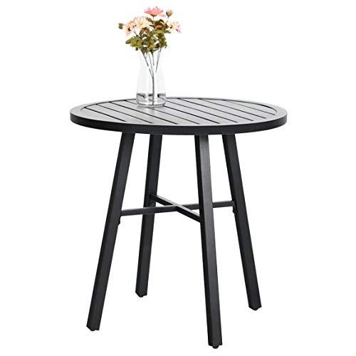 Bistrotisch für den Außenbereich, runder Metalltisch, kleiner Beistelltisch, verstellbar, für Garten, Balkon, Schwarz
