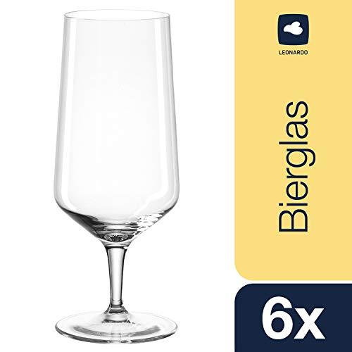Leonardo Puccini Bier-Gläser, Pilsgläser mit gezogenem Stiel, spülmaschinenfeste Biertulpen, 6-er Set, 410 ml, 069541