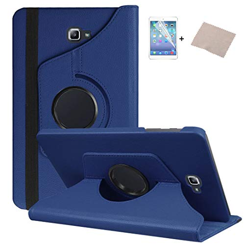 "FULOZO® Samsung Galaxy Tab A6 10.1"" (2016) T580/T585 Hülle Case-360 Grad Rotations PU Ledertasche Smart Cover mit Standfunktion für Samsung Galaxy Tab A 10.1 Tablet+Display Schutzfolie(Dunkelblau)"