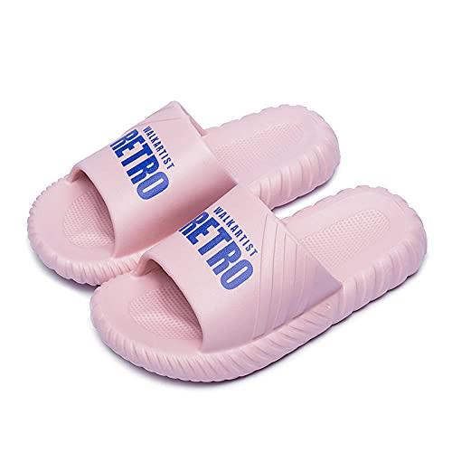 Ririhong Sandalias y Zapatillas Mujer Verano Moda al Aire Libre Zapatillas de Suela Gruesa Ropa para el hogar Pareja Flip Flop de Fondo Suave-Pink_36-37