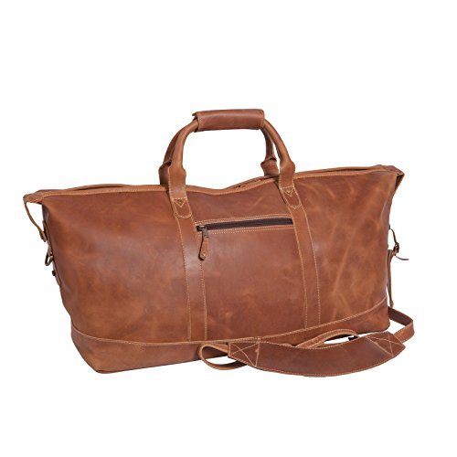 Canyon Outback Leather Goods Inc. Little River 22-inch Leather Duffel Bag - Full Grain Distressed Tan Leather Overnight Weekender Bag for Men and Women- Perfect Travel Bag or Gym Bag