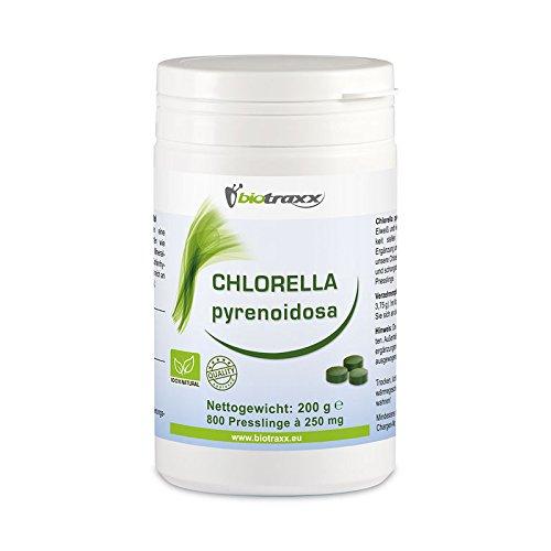 Biotraxx 100% Chlorella pyrenoidosa natural 200g | 800 tabletas | La más alta pureza y calidad | fabricado en Alemania