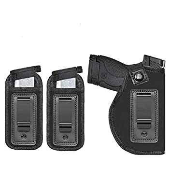 Anjilu Concealed Carry IWB Gun Holsters   Inside Waist Belt Holster   Fits All Firearms S&W M&P Shield 9/40 1911 Taurus PT111 G2 Sig Sauer Glock 19 17 27 43   with Extra Magazine Pouch