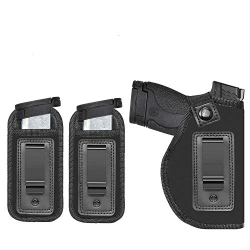 Anjilu Concealed Carry IWB Gun Holsters | Inside Waist Belt Holster | Fits All Firearms S&W M&P Shield 9/40 1911 Taurus PT111 G2 Sig Sauer Glock 19 17 27 43 | with Extra Magazine Pouch