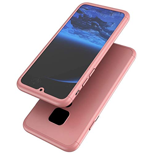 Herbests Coque Compatible avec Huawei Mate 20 Coque Rigide Anti-Scratch Screen Protector Fonction Housse Etui Bumper Cover,Or Rose