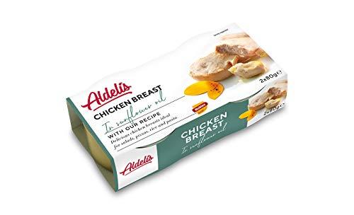 Aldelis Pechuga de Pollo en Aceite de Girasol, listo para comer, ideal para ensaladas y sándwiches, 26% de proteínas, 96,5% de alimentos bajos en azúcar sin grasa - Paquete de 16, 160gr