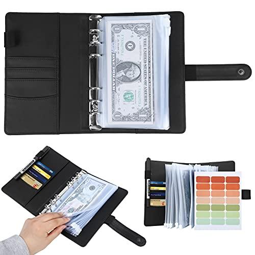Newtion Black A6 Binder and 12 Transparent PVC Envelopes, Budget Binder with Cash Envelopes for Budgeting, Mini Binder Pockets Money Budget Envelopes Wallet, Small Binder Budget Planner Cash Binder