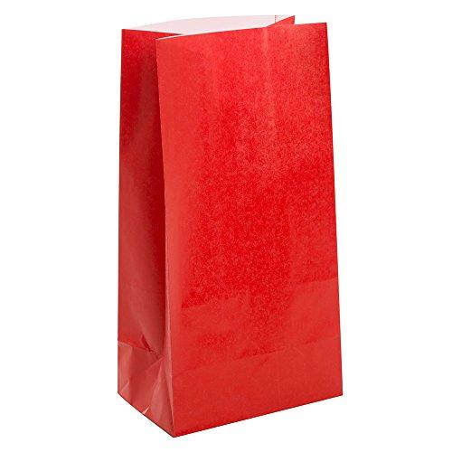 Rote Papiertüten (Packung mit 12)