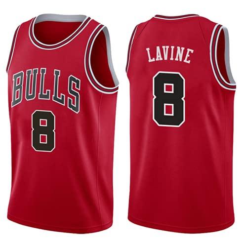 XHDH NBA Men's Bordado Basketball Jersey Bulls # 8 LaVine Sin Mangas Uniforme De Baloncesto, Transpirable Casual Sports Chalt Jersey,Rojo,S 165~170cm