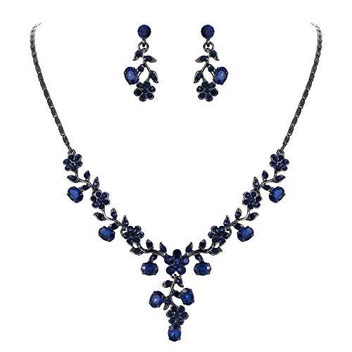 EVER FAITH Austrian Crystal Wedding Ball Flower Leaf Necklace Earrings Set Blue Black-Tone