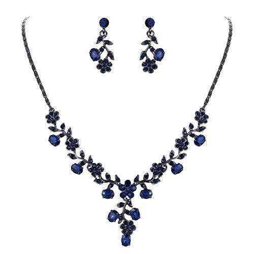 EVER FAITH Austrian Crystal Wedding Ball Flower Leaf Necklace Earrings Set Blue Black-Tone
