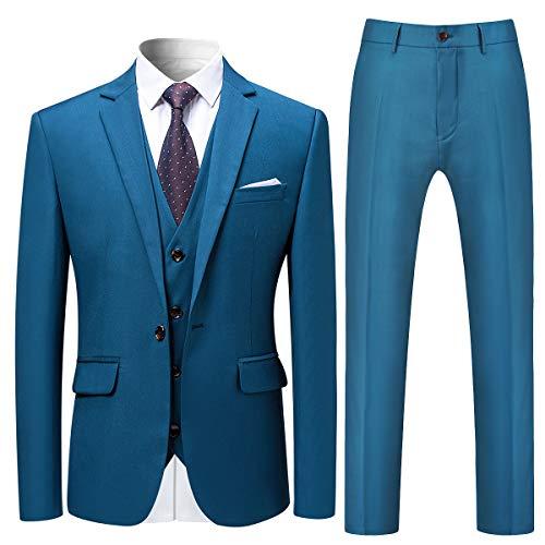 Allthemen Herren Slim Fit 3 Teilig Anzug Modern Sakko für Business Hochzeit Party (Medium, Dunkelblau)