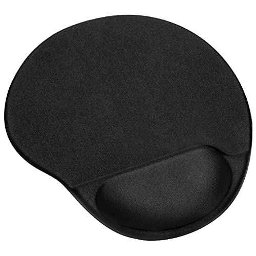 Ergonomic Mouse Pad with Wrist Support Gel,Mouse Pad with Wrist Rest,Pain Relief Mouse pad with Non-Slip PU Base,Comfortable Computer Mouse Pad for Laptop for Office & Home, 9.8 x 8.6 in, Black