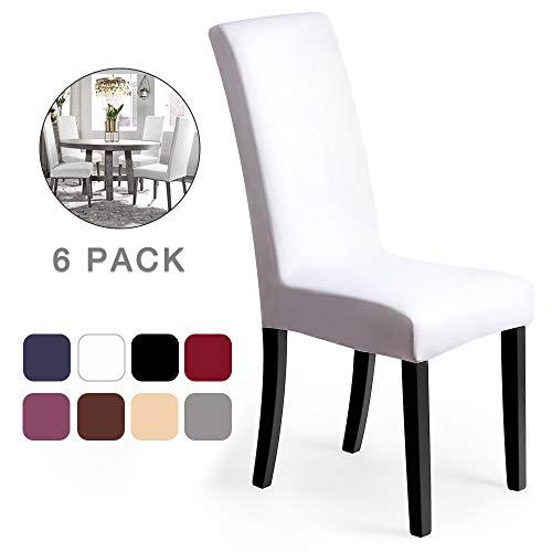 Fundas para sillas Pack de 6 Fundas sillas Comedor Fundas elásticas, Cubiertas para sillas,bielástico Extraíble Funda, Muy fácil de Limpiar, Duradera (Paquete de 6, Blanco) - J