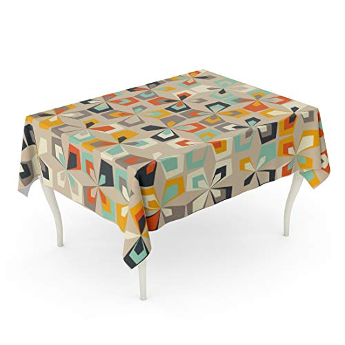 Tarolo Rectangle Tablecloth 52 x 70 Inch Blue 1960S Midcentury Geometric Retro Vintage Brown Orange and Teal Colors Floral Mod Pattern Abstract 60S 70S Yellow 1970S Table Cloth