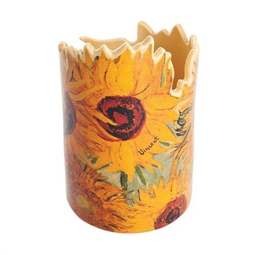 John Beswick Van Gogh zonnebloemen kleine keramische vaas of potloodhouder 22 x 6,5 cm met geschenkdoos