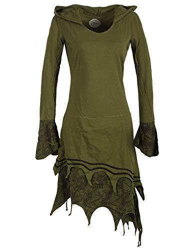 Vishes - Alternative Bekleidung - Zipfeliges Lagenlook Design Elfenkleid Zipfelkapuze Spitze Bedruckt Olive 42-44