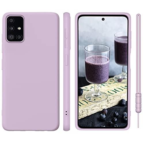 ORDA Samsung Galaxy A51 Hülle Silikon Hülle, Hanyhülle Samsung A51 Hülle Ultra Dünn mit Microfiber, Kameraschutz & Displayschutz, Kratzfeste Hülle für Samsung Galaxy A51 4G Lavendel Lila