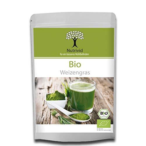 Nutrivid BIO Weizengras- Pulver Anbaugebiet in Deutschland zertifizierte Spitzenqualität, ideal für leckere Fitness-Shakes und Green-Smoothies Veganes Superfood in Rohkostqualität (250gr.)