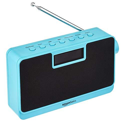 Amazon Basics Tragbares DAB/FM-Radio mit LCD-Display und Bluetooth, Blau