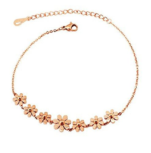 findout high quality 14K rose gold plated titanium steel daisy flower anklet/bracelets for women girls(f988) (bracelet)
