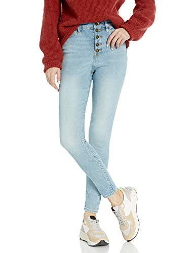 Amazon Brand - Goodthreads Women's Exposed-Fly High-Rise Skinny Jean, Bleach Wash 24 Long