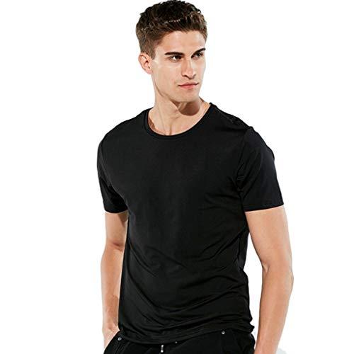 IZHH T-Shirts für Herren Männer wasserdicht atmungsaktiv Anti-Fouling-T-Shirt Kurzarm Radfahren hydrophob Sports Sommer Freizeithemd(Schwarz,M)