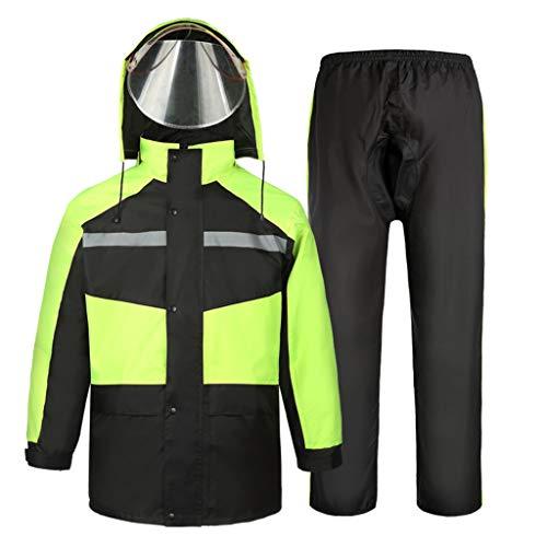 Regenanzug für Männer und Frauen Wiederverwendbare Regenkleidung (Regenjacke und Regenhose Set) Erwachsene wasserdicht regendicht Winddicht mit Kapuze (Farbe : A, größe : XXXL)
