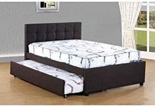 Best Quality Furniture Dark Coffee Woven Fabric Upholstered Full Bed W/Trundle