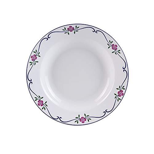 YUWANW Ensemble de vaisselle en céramique Assiette en porcelaine assiette à soupe Assiette à soupe Bol de riz Assiette et soucoupe à café, C Plat profond