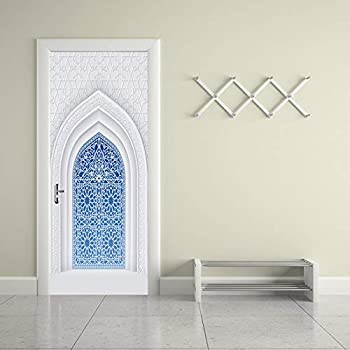 YFXGSTLI Dormitorio Árabe Murales para Puertas 3D Paisaje 3D ...