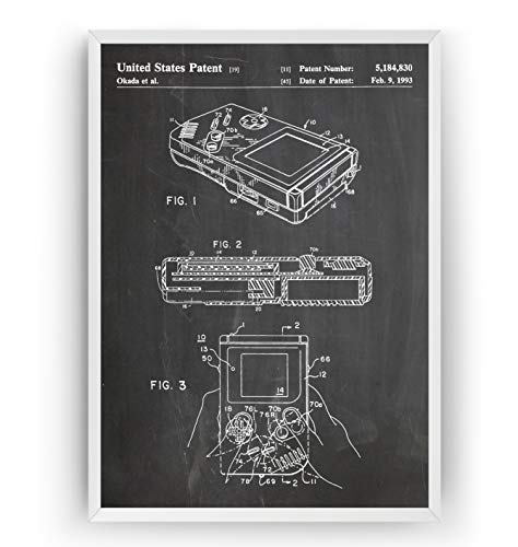 Game Boy 1993 Patent Poster - Gamer Gaming Print Gift Vintage Blueprint Retro Video Games Room Wall Art Bedroom Original Decor Merchandise Classic Old Antique - Frame Not Included