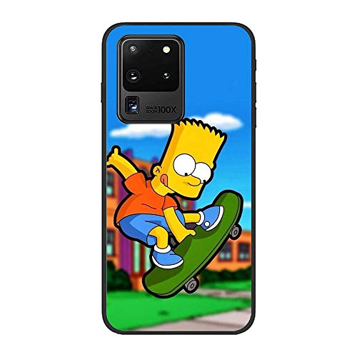 LUOKAOO Ultra Thin Soft Silicone Anti-Scratch Black Phone Cover Case for Samsung Galaxy S20 Ultra-The Bart-Simpson Cartoon 3