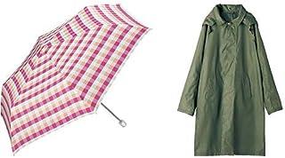 【セット買い】ワールドパーティー(Wpc.) 雨傘 折りたたみ傘 ピンク 50cm レディース スリムポーチタイプ キャンディチェックミニ 8175-239 PK+レインコート ポンチョ レインウェア カーキ FREE レディース 収納袋付き R-1110 KH