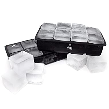 Ice Cube Trays by Rippl - Large Ice Cube Tray - Silicone Ice Tray with Square Ice Cube Mold - Will Make Big Ice Cubes For Whiskey - Set of (2) 8 Cavity Silicone Ice Cube Trays in Black