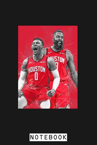 James Harden And Russell Westbrook Notebook: Planner, Journal, Lined College Ruled Paper, Matte Finish Cover, Diary, 6x9 120 Pages